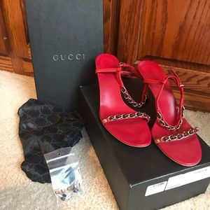 Red Gucci Chain Heel Sandals